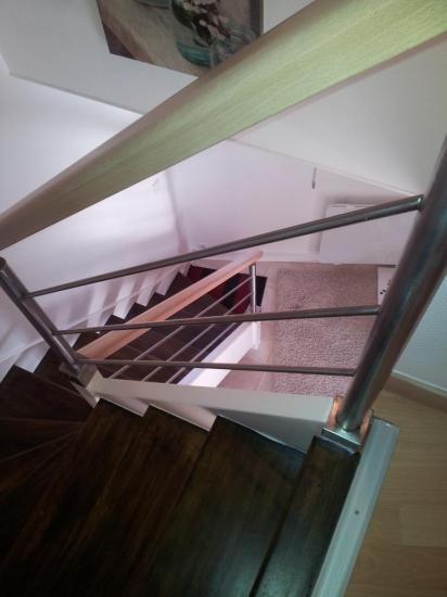 rampe inox sur escalier bois existant