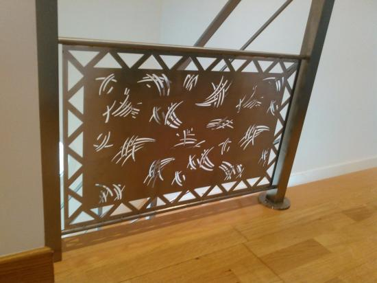 Rampe d'escalier en inox brossé